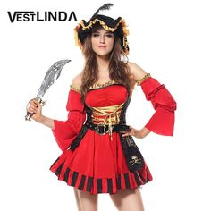 8c29f4fa89 VESTLINDA Hot Red Halloween Dress Off Shoulder Women Ruffled Pirate Cosplay  Costume Shin https