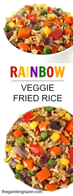 Healthy Meals For Kids Healthy, festive veggie fried rice! Plus tips on cooking better fried rice (vegan, gluten-free) - Colorful rainbow vegetable fried rice! Plus tips on cooking better fried rice (vegan, gluten-free) Veggie Recipes, Baby Food Recipes, Whole Food Recipes, Vegetarian Recipes, Cooking Recipes, Healthy Recipes, Healthy Meals, Healthy Rice, Healthy Eating