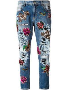 1998a56de1 Marco Bologna jeans bordados con efecto desgastado Pantalones Con Parches