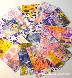 Stencils(StencilGirl) too numerous to mention…layered heavily with gelli printing. Post cards ready to mail…