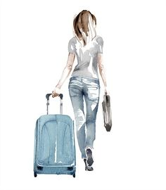 Woman with suitcase illustration by Christian David Moore