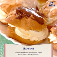 Need a recipe for a tasty sweet snack? Try this chocolate eclairs recipe for a delicious baked treat today. Stork – love to bake. Chocolate Eclair Recipe, Chocolate Eclairs, Stork Recipes, Pie Dessert, Dessert Ideas, Bun Recipe, Cheap Meals, Baking Recipes, Baking Ideas