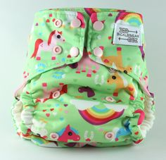 Pretty Ponies and Rainbows All in One AIO One Size Cloth Diaper 7-40 lbs with Super Heavy Organic Bamboo Fleece Blossom Snaps by BICKLEBEAR, $32.00  bicklebear.etsy.com