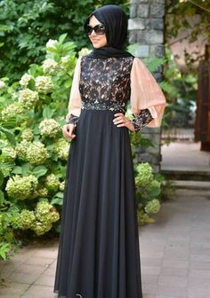 Lastest designer Black lace and light peach coloured abaya or burqa