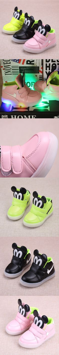 2016 Fashion Cute Led Lighting Children Shoes Hot Sales Lovely Kids Mouse Solid PU Sneakers High Quality Cool Boy Girls Boots $14.49
