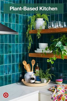 Instantly spruce up a kitchen corner with faux greenery like mini ferns and palms. Home Decor Kitchen, New Kitchen, Kitchen Design, Kitchen Items, Kitchen Plants, Kitchen Products, Artificial Flowers And Plants, Kitchen Corner, Fruit Print