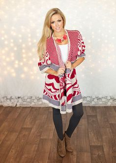 Red Damask Open Sweater