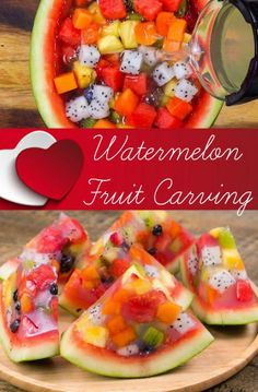 Such a fun way to serve watermelon. So easy to do and will impress your friends. Watermelon Fruit Carving 1 WatermelonVarious fruit of your. Watermelon Jello, Jello With Fruit, Watermelon Carving, Watermelon Dessert, Fruit Slime, Cutting A Watermelon, Eating Watermelon, Fruit Bat, Fruit Fruit