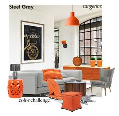 """Color Challenge: Steel Gray & Tangerine"" by snje2105 ❤ liked on Polyvore featuring WALL, Muuto, Greenington, Martha Stewart, Urban Trends Collection, Scapa Home, CB2, Aidan Gray, Williams-Sonoma and blomus"