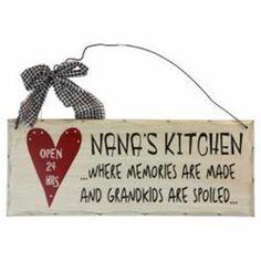 Wooden Sign Decor 10x4 inch Nana's Kitchen Memories Made Grandchildren Spoiled #Unbranded #Contemporary