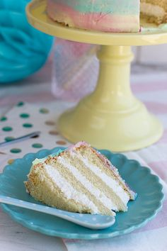 orange vanilla cake with mascarpone cream filling and watercolor effect frosting