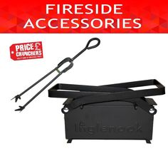 ECO Paper Log Briquette Maker Old Newspaper Recycle and Black Tongs Fireside Set