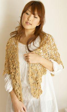 Crochet shawl - free charted Japanese pattern