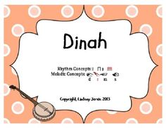 "This PDF contains slides for the folk song, ""Dinah"". Perfect for the Kodaly…"