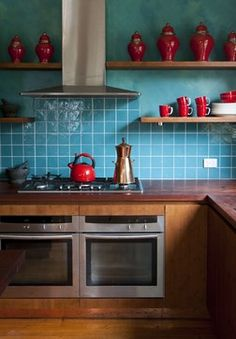 Teal And Red Design  - top of cabinets
