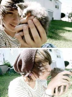 Cute emo guy kissing a kitten. Super cute! X33