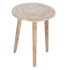 Astounding Wood Tripod Round Table. the natural brown finish of this table features a unique look. Keep this table anywhere you wish to in your living room, bedroom or hallway. This table has wooden carved design in centre which is very alluring. It will thus get well along with traditional and modern themes. This is a table which requires very less maintenance. Dimensions: 17X17X22 Material: Mango Wood Finish:  Color: Brown Lead Time: 3 to 10 business days UPC: 842822118071