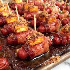 Bacon Wrapped Smokies {3 ways!} - afarmgirlsdabbles.com #appetizer #smokies #bacon