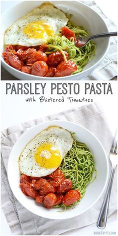 Vibrant green parsley pesto pasta pairs perfectly with sweet blistered cherry tomatoes and a the creamy yolk of a fried egg. Take your pasta up a notch. #vegetarianrecipes #pasta #vegetarian #sidedish #easydinner #easyrecipes #easyrecipe #dinnerrecipes