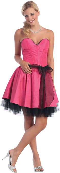 Pink Strapless straight Taffeta A-line Short cocktail dress  homecoming  dresses Personality, Small 6f81aa53d21a