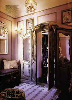 Inspired by The Lion, the Witch and the Wardrobe, Anna Sui had silver cupboard doors installed in front of her walk-in closet (from Elle Decoration, April 2003)