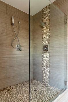 Concrete & pebbles shower