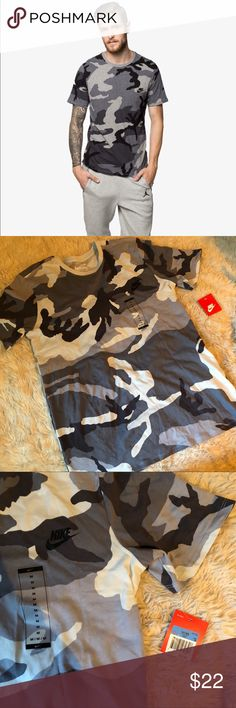 Nike camo tee Nike tee shirt. New with tags. $35 retail. Men's size (only available in the sizes indicated for purchase). Grey camouflage camo print. Fits true to size. Nike Shirts