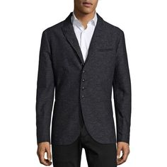 John Varvatos Slim-Fit Wool-Blend Jacket ($1,250) ❤ liked on Polyvore featuring men's fashion, men's clothing, men's outerwear, men's jackets, apparel & accessories, mens slim fit jacket and mens slim jacket