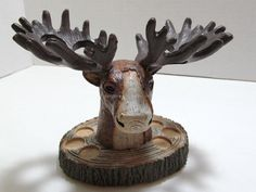 Silhouette Lodge Toothbrush Holder for sale online Toothbrush And Toothpaste Holder, Pencil Holder, Carved Wood, Tumblers, Moose, Bookends, Carving, Silhouette, Bath