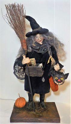 Kim's Klaus~HandMade Primitive Folk Art Witch~Vintage Antique Halloween Doll  | eBay