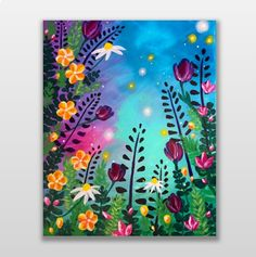 Kunst Join us for a Paint Nite event Thu Jul 2016 at 111 Central Way Kirkland, WA. Easy Canvas Painting, Spring Painting, Diy Canvas Art, Diy Painting, Painting & Drawing, Watercolor Paintings, Lotus Painting, Acrylic Painting Flowers, Whimsical Art
