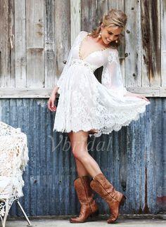 Wedding Dresses - $147.66 - A-Line/Princess V-neck Short/Mini Tulle Wedding Dress With Lace Beading (0025058517)
