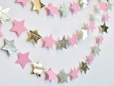 Pink and Gold Twinkle Twinkle Little Star, Paper Garland, Birthday Party Decor, Nursery Decor by DesignElementsByErin on Etsy https://www.etsy.com/listing/264455055/pink-and-gold-twinkle-twinkle-little