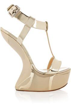 Giuseppe Zanotti supercool metallic wedge sandals. I love this style of heel!