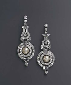 A pair of Art Deco natural pearl and diamond ear pendants, circa 1930 Art Deco Schmuck, Schmuck Design, Art Deco Jewelry, Fine Jewelry, Jewelry Design, Art Deco Earrings, Jewelry Model, Jewelry Stand, Jewelry Crafts