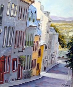 Down The Hill Old Quebec Scene  by Prankearts for $325.00