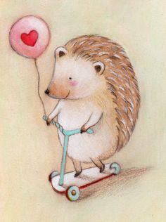 Hedgehog Balloon Love Print 8x10 by Megumi Lemons
