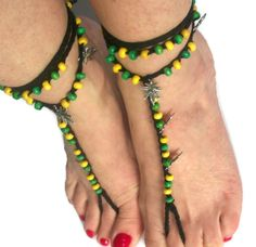 Items similar to Men's Barefoot sandals, Jamaican Rasta Tribal Beaded Gypsy Soleless Crochet Beach Yoga Festival Pool on Etsy Jamaican Rasta, Jamaican Colors, Hand Crochet, Free Crochet, Hand Knitting, Dancing Barefoot, Yoga Festival, Bare Foot Sandals, Just Dance