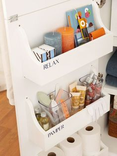 The backs of cabinet doors are full of unused storage space. Attach shallow caddies to the back of a cabinet to add storage for everything like hand soap, cotton balls, and cleaning supplies. Label each shelf to make sure toiletries stay separate from oth