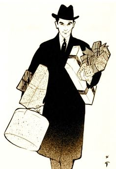 Illustration by René Gruau, 1952....what every man, every where, should be wearing....packages!  From Saks!