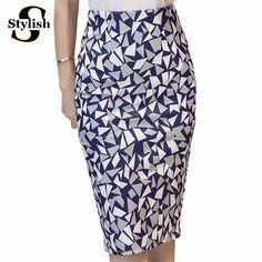 1622ae50cf8f61 Goedkope Hoge Taille Rok 2016 Zomer Herfst Nieuwe Mode Koreaanse  Geometrische Gedrukt Potlood Rokken Vrouwen Knielange