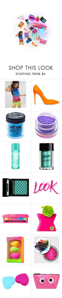 """""""So much neon"""" by nikkolm ❤ liked on Polyvore featuring beauty, Kyouko, Casadei, Medusa's Makeup, NYX, Bond No. 9, beautyblender and Concrete Minerals"""