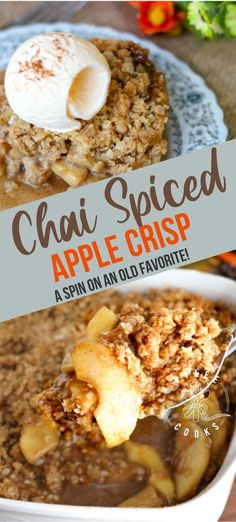 A new take on a traditional favorite, my Chai Spiced Apple Crisp combines gorgeous chai flavors with apples, topped with a decadent, crunchy and buttery topping. #chai #applecrisp #fall #dessert #kyleecooks