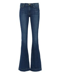 FRAME EXCLUSIVE Vista Le High Flare: This high-rise with a flare leg silhouette is by far the most perfected 70's design. Zipper/button closure. Five pockets. In a medium denim wash.  Fabric: 93% cotton/5% polyester/2% lycra  Made in USA.    Model Measurements: Height 5'10 1/2; Waist 24 ; ...