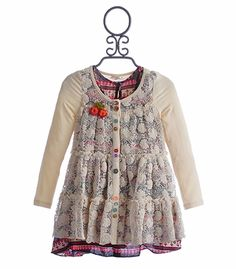 Baby Sara Girls Layered Dress with Crochet Front