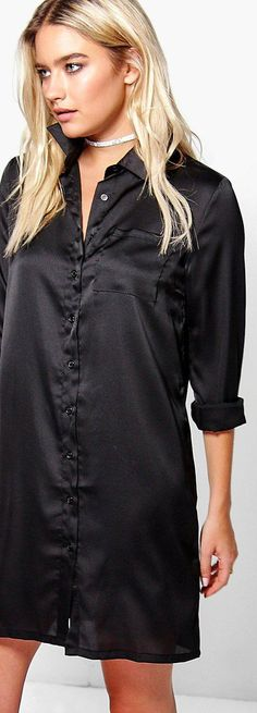 Harriet Satin Shirt Dress - Dresses  - Street Style, Fashion Looks And Outfit Ideas For Spring And Summer 2017