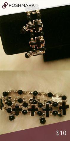 Stretch bracelet with crosses Classy stretch bracelet with crosses and hanging beads. Jewelry Bracelets