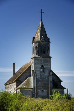 Such a unique, abandoned church in Saskatchewan.