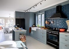 The Nordroom - Blue Kitchen in An Idyllic Swedish Home In The Woods With A Stunning Green Bathroom Very Small Bathroom, Bohemian Bathroom, Swedish House, Grey Bathrooms, Floor Design, Kitchen Dining, Dining Rooms, Countertops, Interior Design