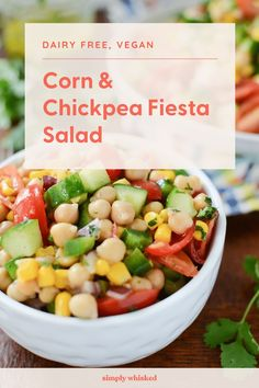 This easy garbanzo bean salad is a awesome vegan recipe that's perfect for healthy summer lunch - filled with cucumber, tomatoes and corn, with a cilantro lime dressing. Bean Salad Recipes, Pea Recipes, Salad Dressing Recipes, Side Dish Recipes, Cooking Recipes, Healthy Recipes, Healthy Foods, Side Dishes, Summer Recipes